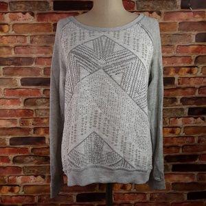 Rewind Gray White Silver Sweatshirt Textured NWT